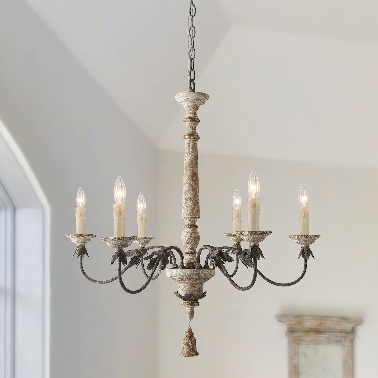French Country Chandelier Retro White 6 Lights Pendant Lighting N A