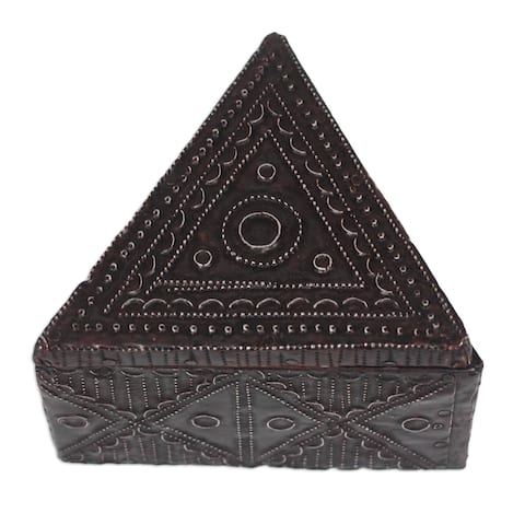 Triangle Delight Aluminum And Wood Decorative Box