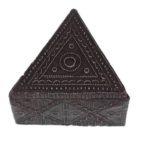 Handmade Triangle Delight Aluminum and Wood Decorative Box (Ghana)