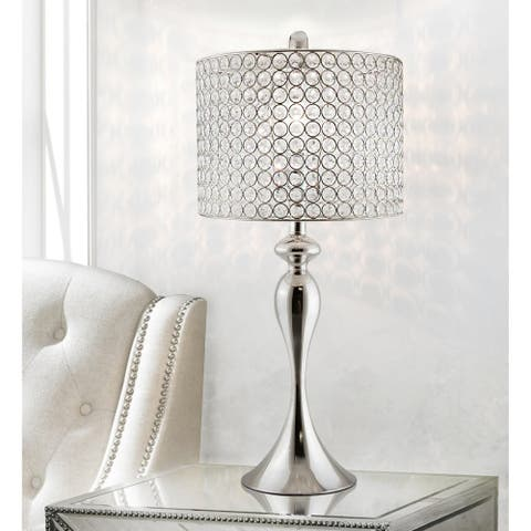 Silver Orchid Burkett 26.5-inch Polished Nickel Table Lamp