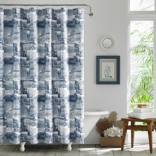 Tommy Bahama Wish You Were Here Blue Shower Curtain