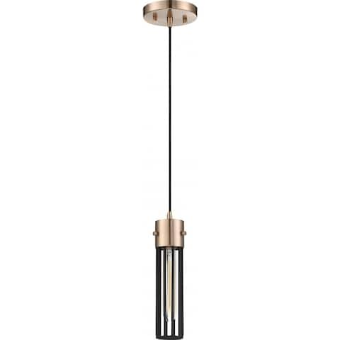 Eaves 1-Light Pendant Fixture Copper Brushed Brass Finish with Matte Black Cage