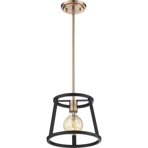 Chassis 1-Light Mini Pendant Fixture Copper Brushed Brass Finish with Matte Black Frame - N/A