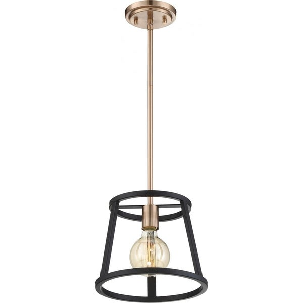 Chassis 1-Light Mini Pendant Fixture Copper Brushed Brass Finish with Matte Black Frame - N/A. Opens flyout.