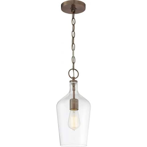 Hartley 1-Light Pendant Fixture Antique Copper Finish with Clear Glass - N/A