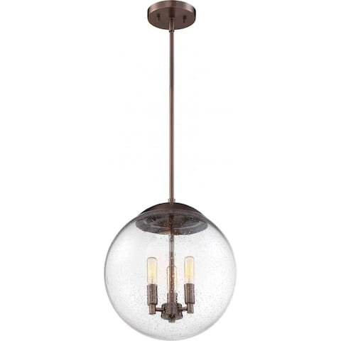 Ariel 3-Light Pendant Fixture Antique Copper Finish with Clear Seedy Glass - N/A
