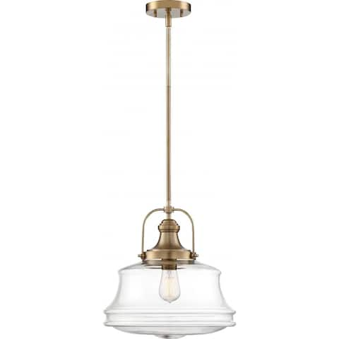 Basel 1-Light Pendant Fixture Burnished Brass Finish with Clear Glass - N/A