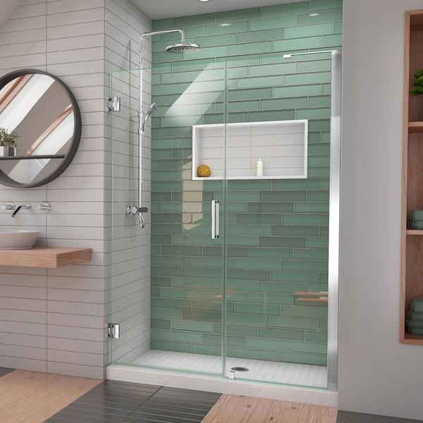 """DreamLine Unidoor-LS 50-51 in. W x 72 in. H Frameless Hinged Shower Door with L-Bar - 50"""" - 51"""" W"""