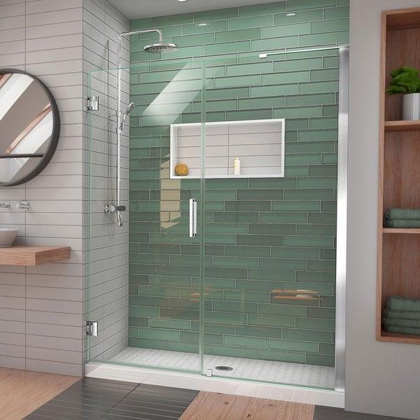 """DreamLine Unidoor-LS 53-54 in. W x 72 in. H Frameless Hinged Shower Door with L-Bar - 53"""" - 54"""" W"""