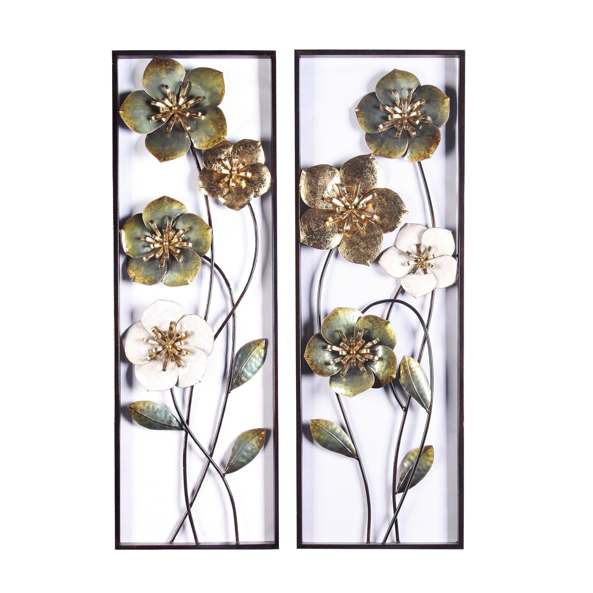 2pc Metal Flowers Wall Decor Overstock 29213849