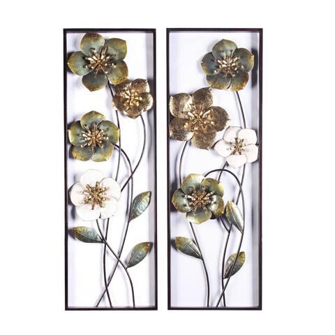 2pc Metal Flowers Wall Decor