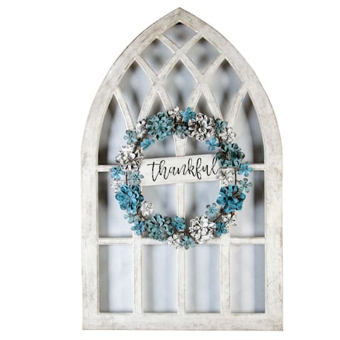 Metal and Wood Thankful Cathedral Window Wall Decor