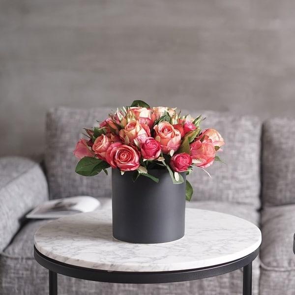Faux Rose Arrangement in Black Ceramic Vase
