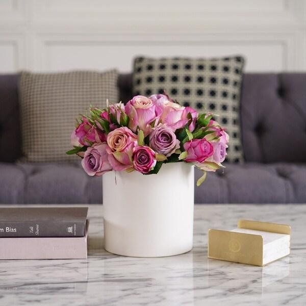 Faux Rose Arrangement in White Ceramic Vase