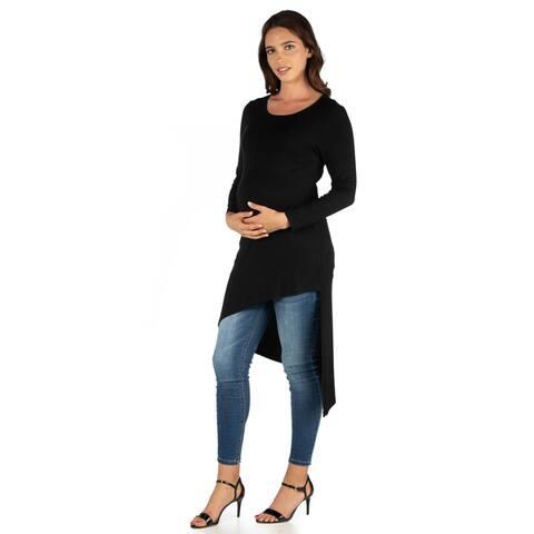 24seven Comfort Apparel Long Sleeve Knee Length Maternity Tunic Top