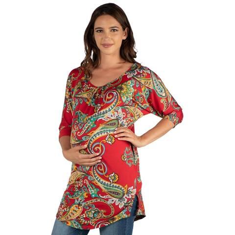 24seven Comfort Apparel Three Quarter Sleeve Maternity Tunic Top