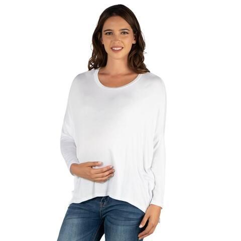 24seven Comfort Apparel Oversized Long Sleeve Maternity Dolman Top