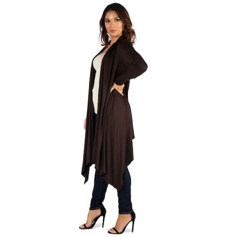 24seven Comfort Apparel Extra Long Open Front Cardigan
