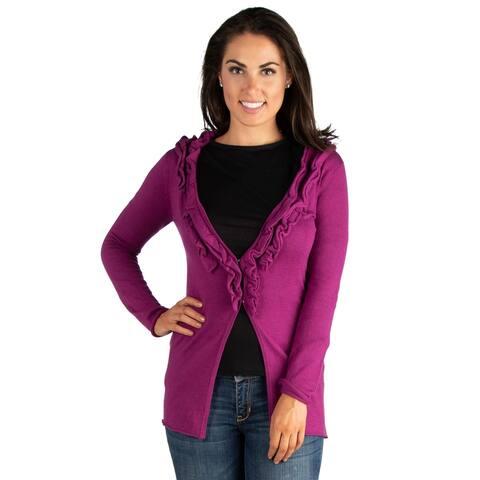 24seven Comfort Apparel Magenta Long Sleeve Ruffle Cardigan Sweater