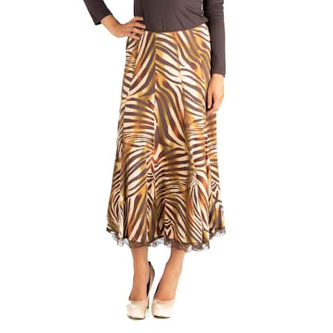 24seven Comfort Apparel Flowy Animal Print Midi Skirt