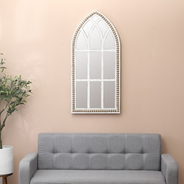 The Gray Barn Spehar Rustic Wood Cathedral Wall Mirror