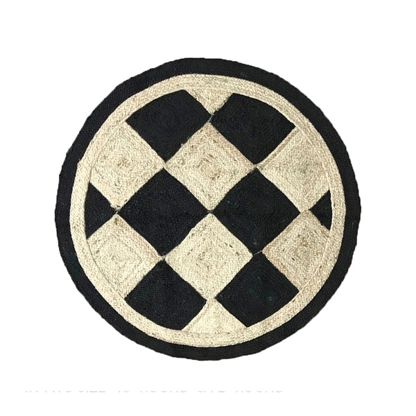 "Checkers Jute Braid Round shape Area Rug - 48"" Round"