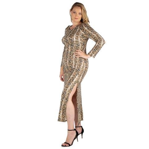 24seven Comfort Apparel Long Sleeve Side Slit Plus Size Maxi Dress