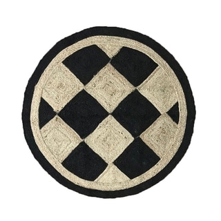 "Checkers Jute Braid Round shape Area Rug - 72"" Round"