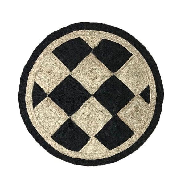 "Checkers Jute Braid Round shape Area Rug - 72"" Round"