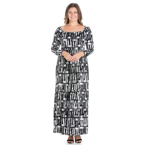 24seven Comfort Apparel Black Long Sleeve Plus Size Maxi Dress