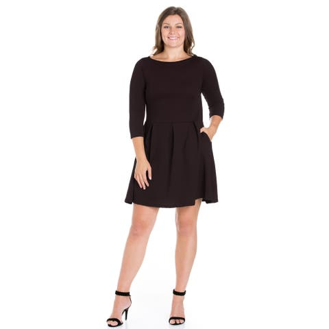 24seven Comfort Apparel Perfect Fit and Flare Plus Size Pocket Dress