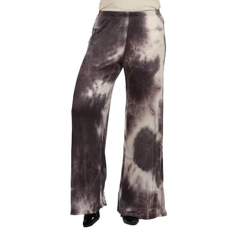 24seven Comfort Apparel Elastic Waist Brown Tie Dye Plus Size Palazzos