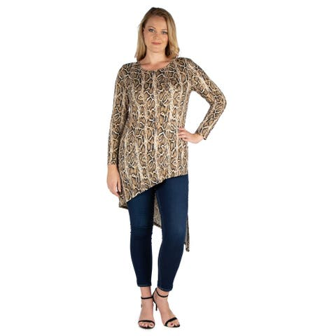 24seven Comfort Apparel Long Sleeve Asymmetrical Plus Size Tunic Top