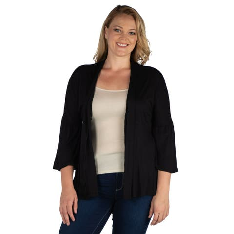 24seven Comfort Apparel Bell Sleeve Open Front Plus Size Cardigan