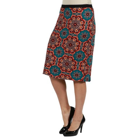 24seven Comfort Apparel Bold Print Plus Size Pencil Skirt