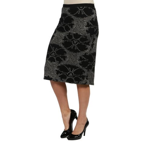 24seven Comfort Apparel Black Print Plus Size Pencil Skirt
