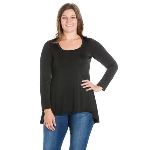 24seven Comfort Apparel Simple Long Sleeve Hi Low Plus Size Tunic Top