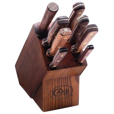 Case Knife 10249 Household Cutlery - Solid Walnut Handles - 9-Piece Block Set