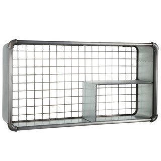 UTC94649: Metal Rectangle Wall Shelf with 3 Slots, Pipe Design Front Edges and Back Screen Cover Galvanized Finish Gray - N/A
