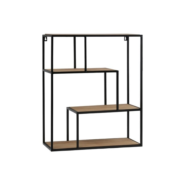 UTC61102: Metal Rectangle Wall Shelf with Top Wood Layer, 3 Wooden Shelves Surface Tier Coated Finish Black - N/A
