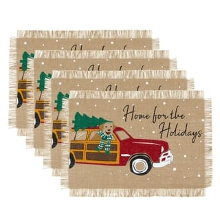 """Home For the Holidays Burlap Placemat, Set of 4 - 13""""x19"""""""