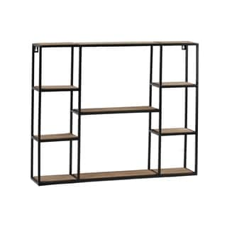 UTC61105: Metal Rectangle Wall Shelf with Top Wood Layer, 8 Wooden Shelves Surface Tier  Coated Finish Black - N/A