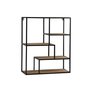 UTC61106: Metal Rectangle Wall Shelf with Top Wood Layer, 5 Wooden Shelves Surface Tier  Coated Finish Black - N/A