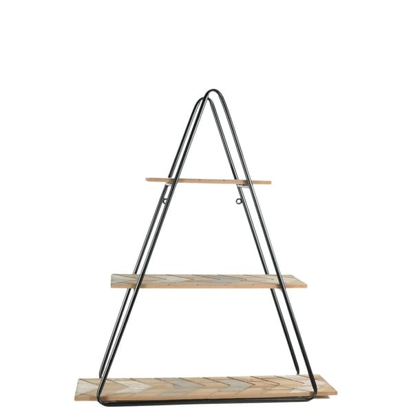 UTC57843: Metal Triangle Wall Shelf with Carved Wood Surface Design Tiers Painted Finish Black - N/A