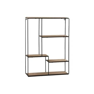 UTC61101: Metal Rectangle Wall Shelf with Top Wood Layer, 4 Wooden Shelves Surface Tier  Coated Finish Black - N/A