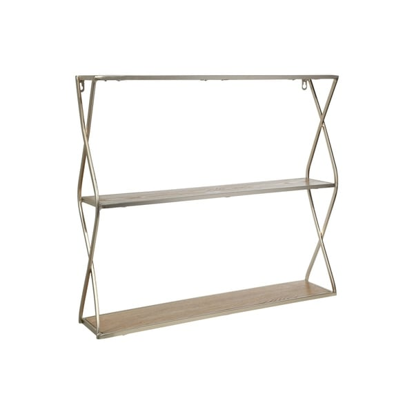 UTC31101: Metal Rectangle Wall Shelf with Side Criss Cross Design, 2 Tier Metallic Finish Champagne - N/A
