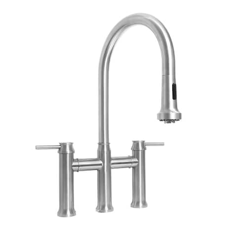 Whitehaus Collection Bridge Faucet with Pull Down Spray Head