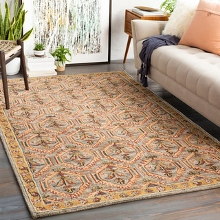 Jadin Handmade Wool Floral Trellis Area Rug
