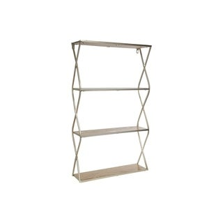 UTC31103: Metal Rectangle Wall Shelf with Side Criss Cross Design, 3 Tier   Metallic Finish Champagne - N/A