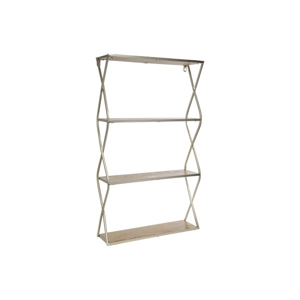 UTC31103: Metal Rectangle Wall Shelf with Side Criss Cross Design, 3 Tier Metallic Finish Champagne - N/A